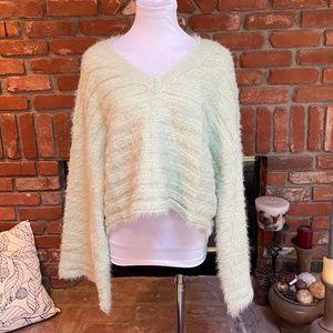 Soft Light Green Fuzzy Crop Bell Sleeve Sweater